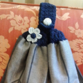 TOP QUALITY HAND TOWELS WITH CROCHET TOP HANGING LOOP & BUTTON SET OF TWO
