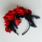 Spring Racing Floral Headband, Red Roses with Black Feathers & Berries