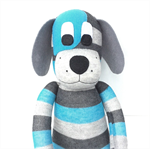 'Davey' the Sock Dog - aqua and grey stripes  - *READY TO POST*