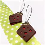 Polka dot leather earrings