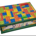The Colourful Blocks Wooden Keepsake Memory Treasure Trinket Box