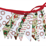 Christmas Bunting - Red / Green Father Xmas, Wreath, Script Decoration Flags