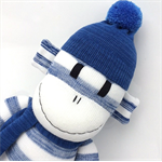 'Riley' the Sock Monkey - blue and white stripes - *READY TO POST*