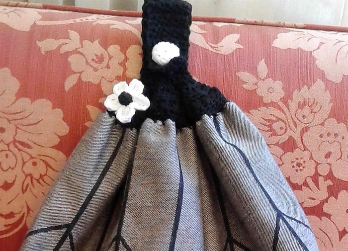 Top Quality Cotton Tea Towels With Crochet Top Hanging Loop