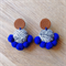 Leather Boho Dangle Stud Earrings Festival Blue & Monochrome Pompom