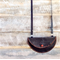 Black leather bag, moon shaped leather purse with shoulder strap.