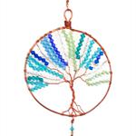 Tree of life blue crystals suncatcher