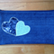 Upcycled Denim Pencil Case - Two Hearts