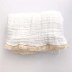 Fringed Organic Cotton 6 Layer Muslin Blanket