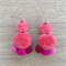 Velvet  Boho Dangle Earrings Festival Peach Pompom
