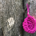 Crochet hanging pod, air plant holder, fairy hollow, imaginary play - pink