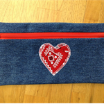 Upcycled Denim Pencil Case - Red Heart