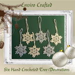 Set of Six Hand Crocheted Gold and Silver Snowflakes Xmas Tree Decorations