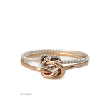 Gold and twisted silver double love knot ring