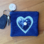 Blue Heart Upcycled Denim Purse