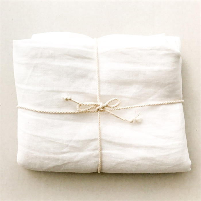 White Pure Flax Stone Washed Linen Heirloom Blanket