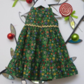 "Size 5 - ""Green Metallic Stars"" Christmas Dress"