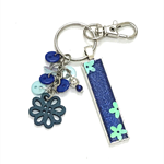 Glitter keychain with 'teacher' charm -blue teachergift flower
