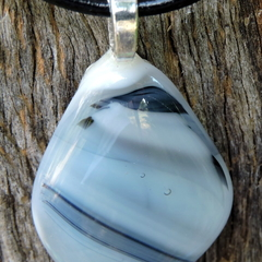 Black and white art glass pendant #2