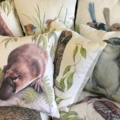 Cushion Cover with Powerful Owl Australian wildlife print on Linen 40cm square
