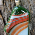 Green red white art glass pendant