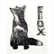 Fox Original Linocut  Vintage Style Nursery Art Decor