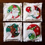 White Christmas Coasters x4 🎄