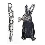 Rabbit Vintage Style Original Linocut Print Nursery decor