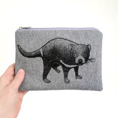 Screen printed Tasmanian devil pouch / clutch / purse / wallet