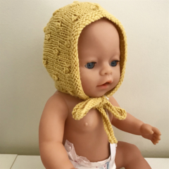 Dolls Yellow Bonnet - size 38-46cm -hand knitted in pure wool
