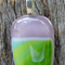 Green on mauve art glass pendant