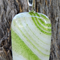Adventurine green on white art glass pendant