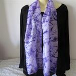 Hand Painted - Silk Scarf - Purple