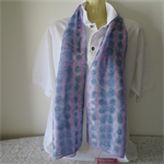 Hand Painted Silk Scarf - Deep Blue and Hot Pink