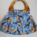Blue Bird print handbag