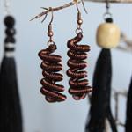 Hand coiled bronze earrings