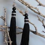 Long black tassel earrings with silver beads