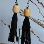 Black cotton tassel earrings