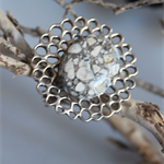 Silver mesh ring with grey stone