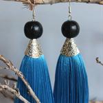 Cobalt blue tassel earrings