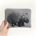 Screen printed wombat pouch / clutch / purse / wallet