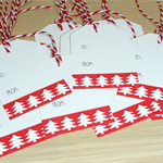 12 Merry Christmas gift tags - red and white trees
