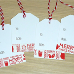 12 Merry Christmas gift tags - Xmas text