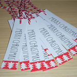 12 Merry Christmas gift tags - red and white trees - handmade xmas tags