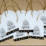 Set 12 Christmas gift tags - black and gold - 'tis the Season to sparkle