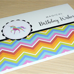 Girls Happy Birthday card - rainbow unicorn - Magical Birthday Wishes