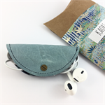 Leather and kimono fabric headphones holder cable tidy - blue