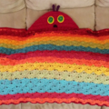 Hooded child blanket, cushion. Hungry Caterpillar, Beautiful Butterfly, crochet