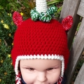 Christmas Unicorn Santa earflap hat! Red hand made crochet hat, beanie.