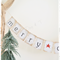 Boho Merry Christmas Hessian Burlap Bunting Banner Vintage Rustic Red Star
